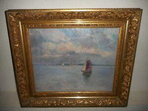 Antique oil painting,{ Richard Baseleer (1867- 1951), sailboats near the coast }
