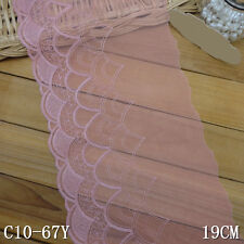 """1Yard  Elegant Wave Delicate Embroidered Tulle  Lace Trim Pink 5 7/8"""" Wide"""