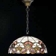 Honsel Tiffany Pendelleuchte Verde 1-flg Altmessing Glas Champ Braun ø 40 cm NEU