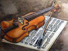 Original WATERCOLOR PAINTING Violin Music Sheets Treble Clef Song 5X7 Art