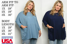 USA MADE WOMENS PLUS SIZE COMFY LOOSE FIT 3/4 SLEEVE TUNIC KNIT TOP BLOUSE SHIRT