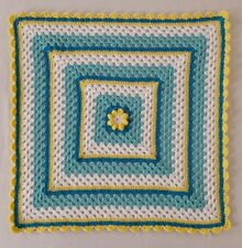 Berry Crafts - Gorgeous Aqua&Yellow Crocheted Baby Blanket with Bubble Flower