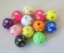 200pcs Mixed Colour Plastic Beads W/rhinestone 9mm M18703