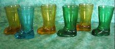 VINTAGE SET OF 6 MINI MOD DEP BOOT SHAPED SHOT GLASSES~AMBER,GREEN,BLUE~ITALY