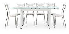 TABLE VERRE EXTENSIBLE 110X70 STRUCTURE ACIER BLANC PLAN VERRE