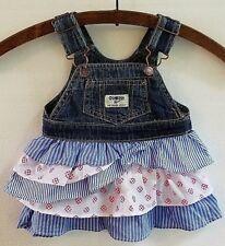 Girls OshKosh B'gosh Overall Dress Vestback Jumper Tiered Ruffles Size 6 Months