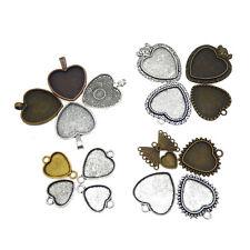 15 pcs Vintage Metal Blank Base Setting Heart Shaped Pendants Trays Charms