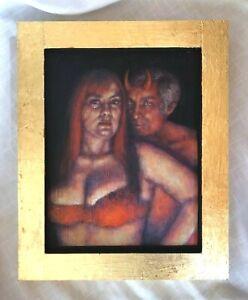 Stacy Lande Lowbrow Pop Surrealism 12 x14.5 New Painting Devil ORIGINAL ART