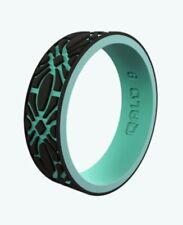NEW Qalo Women's Strata Black and Aqua Flora Silicone Wedding Ring 5 6 7