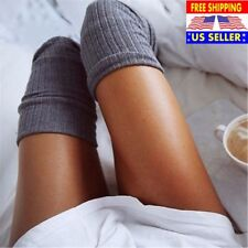 Women Ladies Over The Knee Socks Thigh High Long Stockings Cotton Warm Dark Gray
