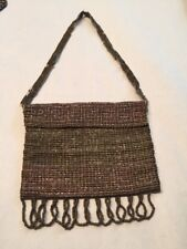 Victorian Steel Cut Bead Woven Coin Flap Over Purse Silver Gray Purple