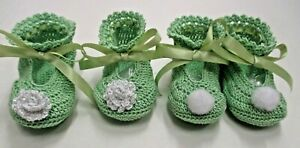 Handmade Thread Crochet Shoes for Baby- Tinkerbell Green -Available in 2 styles