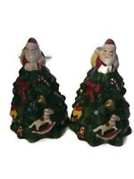 "Spode Christmas Tree Salt and Pepper Shaker Set Tree Shaped 4.75"" Village Santa"