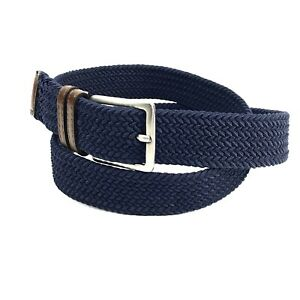 Dockers Mens Belt Large 38 - 40 Blue Woven Canvas Leather Ends Casual 1.25 Wide