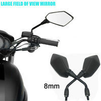 Motorcycle Side Mirror Rearview Mirrors 8mm For Honda Kawasaki Yamaha Universal