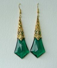 LARGE GREEN FACETED ACRYLIC GOLD PLATED DECO FILIGREE EARRINGS LG