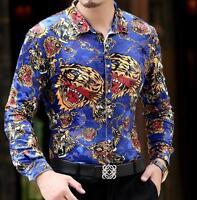 New Stylish Men Floral Shirts Slim Fit Leisure Dress Mulberry Silk Long Sleeve