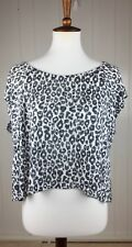 AX Armani Exchange Cheetah Print Knit Top Blouse Womens Size XS Batwing Sleeves