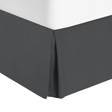 """Solid Luxury Pleated Tailored Bed Skirt - 14"""" Drop Dust Ruffle, Cal King - Gray"""