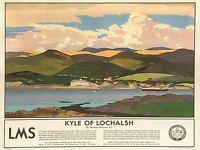 ART PRINT POSTER TRAVEL COAST KYLE LOCHALSH LMS SHIP CRUISE SCOTLAND NOFL1095