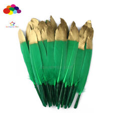 6 Pcs Glitter Duck Feather Grass Green Dyed Gold 6-8In/15-20cm Diy Carnival