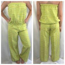 Vintage 80s Boob Tube Top Outfit L Jumpsuit Lime Green Wide Leg Pants City Rags
