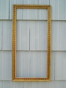 Vintage Gold Ripple Surface Black Shading Effect Picture Frame 14 x 31 Very Nice