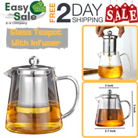 Ess Glass Teapot With Infuser Stovetop Safe Stainless Steel White Kitchen 4 Cup