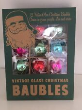 Vintage Glass Festive Christmas Baubles Green Blue Cerise Set Of 12 Boxed