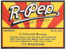 Vintage R-PEP Soda Bottle Label