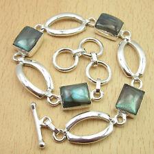 "925 Silver Plated, Blue Flashed Square LABRADORITE 4 Gems, Bracelet 8"""
