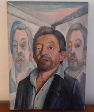 """TABLEAU HUILE sur TOILE """" Portrait de GAINSBOURG """" Signé et Daté A. KONOPSKI 94"""
