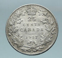 1917 CANADA UK King George V VINTAGE Antique RARE SILVER 25 CENTS Coin i85172