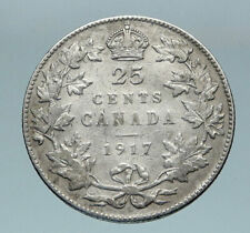 1917 CANADA UK King George V VINTAGE Antique RARE SILVER 25 CENTS Coin i85172