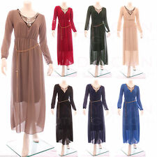 Lace Patternless Long Sleeve Maxi Dresses for Women