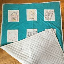 "Vintage Handmade Quilt Embroidered Farm Animal Blocks 43"" x 70"" Baby Blanket"