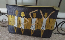 Ipsy Cosmetic Bag Make-Up Jewelry Travel Graphic Ladies Denim Gold