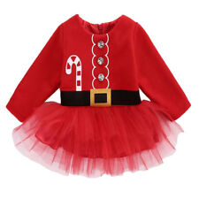 Newborn Baby Girls Long Sleeve Christmas Santa Tulle Dress Outfits Costume 0-24M