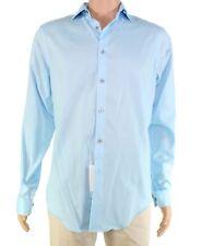 Calvin Klein Mens Dress Shirt Blue US Size 15 Unsolid Solid Slim Fit $79 #915