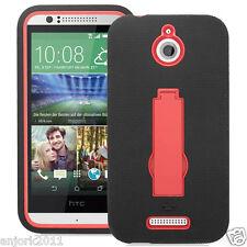HTC Desire 510 Hybrid Defender Armor Case w/Stand Skin Cover Black Red