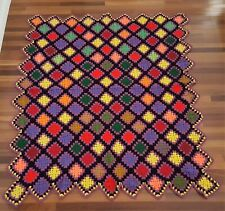 Granny Square Afghan Handmade Crochet Throw Blanket Cabin  Patchwork BIG BANG