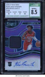 2020-21 Select Rookie Jersey Autographs Purple Kira Lewis Jr. CSG 8.5 /99