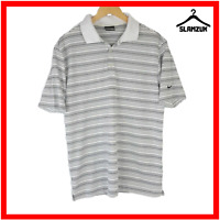 Nike Polo Shirt Mens Golf Dri Fit M Medium White Striped Collared Sport Top