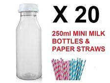 20 x 250ml in plastica di Mini Bottiglie Latte Succo di Carta Cannucce Per Bambini Festa Di Compleanno