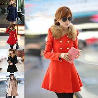 Women's Slim Double Breasted Trench Wool Fur Collar Coat Jacket Outwear Overcoat