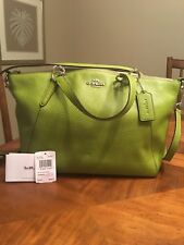 Coach Small Kelsey Satchel Crossbody Yellow Green  - Excellent Pre-Owned