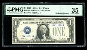 DBR 1928 $1 Silver Funnyback Fr. 1600 DA Block PMG 35 Serial D66310728A