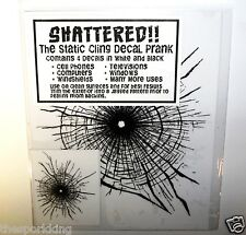 SHATTERED!! Realistic Set of 4 Broken Screen Static Cling Prank Decals. FUNNY!!