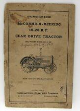 Mccormick Deering 10 20 Hp Gear Drive Tractor Manual Instruction Book