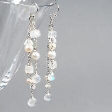 Rainbow Moonstone Gemstone White Freshwater Pearl Cascade Silver Chain Earrings